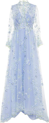 Luisa Beccaria Floral-Appliquéd Embroidered Tulle Gown