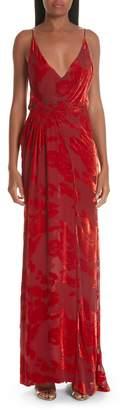 GALVAN Rose Velvet Devore Gown