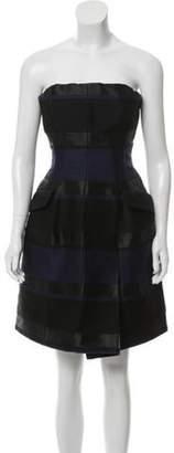 Christian Dior Wool Striped Dress Black Wool Striped Dress