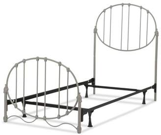 Emory Fashion Kids Complete Metal Bed and Steel Support Frame with Oval-Shape Spindle Panels and Decorative Curved Base, Grey Finish, Full