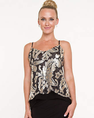 Le Château Floral Sequin High-Low Camisole