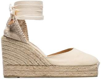 Castaner cream Carina 80 ankle tie wedge sandals