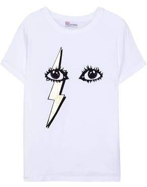 RED Valentino Metallic Printed Cotton-Jersey T-Shirt