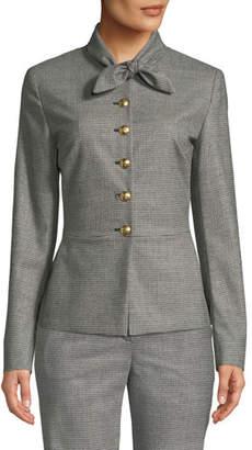 Escada Tie-Neck Button-Front Mini-Houndstooth Jacket