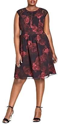 City Chic Plus Rose-Print Lace-Inset Dress
