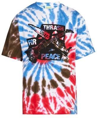 Aries Thrash For Peace Print Tie Dye Cotton T Shirt - Mens - Multi