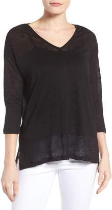 Vince Camuto Seam Detail Linen Tee