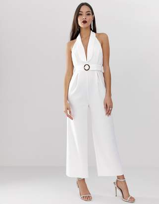 Asos Design DESIGN scuba tux collar halter jumpsuit with buckle detail and low back