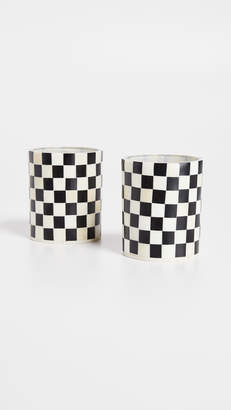 Lele Sadoughi Checkered Votive Candle Holders