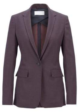 BOSS Hugo Long-length blazer in micro-dot stretch fabric 0 Patterned