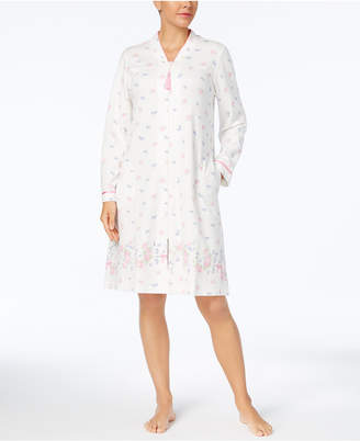 Charter Club Border-Print Cotton Knit Zip-Front Robe, Created for Macy's $68 thestylecure.com