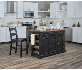 Inspired by Bassett Farmhouse Basics Kitchen Island with Granite and Drop Leaf in Black with Vintage Oak Top and Two Matching Stools