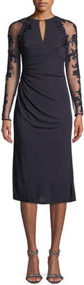 David Meister Stretch Jersey Beaded-Sleeve Cocktail Dress