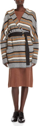 Roberto Collina Stripe Belted Wool-Blend Jacket
