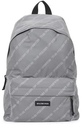 Balenciaga Silver Printed Shell Backpack