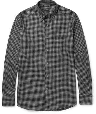 Ermenegildo Zegna Button-Down Collar Checked Brushed-Cotton Shirt