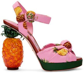 Dolce & Gabbana Pink Pineapple Sandals