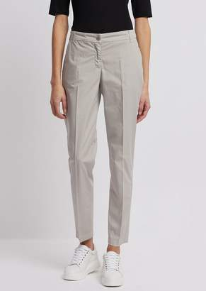 Emporio Armani Chino Pants In Garment-Dyed Cotton Muslin