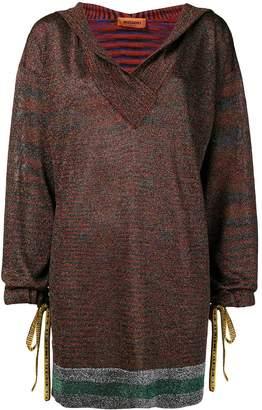 Missoni deep V-neck hooded sweater