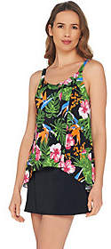 Denim & Co. Beach Hi-Low Tankini Swimsuit withSkirt
