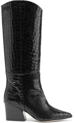 Tibi Logan Croc-effect Leather Knee Boots - Black