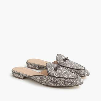 J.Crew Piped loafer mules in embossed leather