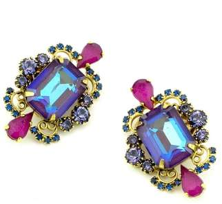 Elizabeth Cole Garnet Stud Earrings