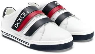 Dolce & Gabbana (ドルチェ & ガッバーナ) - Dolce & Gabbana Kids TEEN logo strap sneakers
