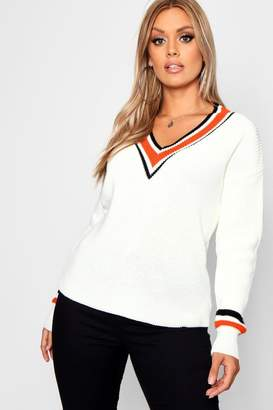 boohoo Plus Stripe Contrast V Neck Oversized Jumper