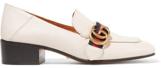Gucci Logo-embellished Leather Collapsible-heel Pumps - Off-white