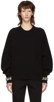 Alexander Wang Black Studded Cuff Crewneck Pullover