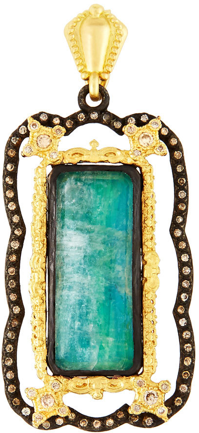 ArmentaArmenta Old World Malachite Doublet Enhancer w/ Champagne Diamonds