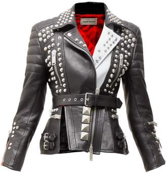 Alexander McQueen Studded Leather Biker Jacket - Womens - Black Multi