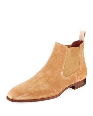 Magnanni Men's Suede Low Gored Chelsea Boots, Light Brown