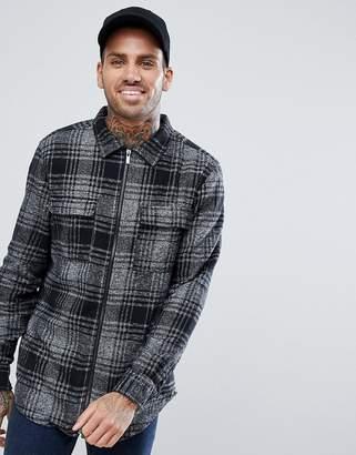 Bershka Check Overshirt in Gray