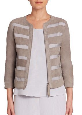 Armani Collezioni Sheer Panel Suede Jacket $1,895 thestylecure.com