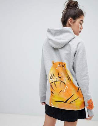 We Are Hairy People organic cotton hoodie with hand painted Malayan Tiger