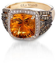 Levian 0.36TCW Diamonds, Citrine and 14K Yellow Gold Chocolatier Ring $2,630 thestylecure.com