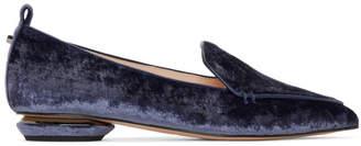 Nicholas Kirkwood Navy Velvet Beya Loafers