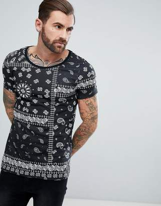 Asos T-Shirt With Scoop Neck And All Over Bandana Print