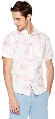 Isle Bay Linens Men's Slim Fit Short Sleeve Toile Vintage Printed Linen Cotton Casual Hawaiian Shirt XXL