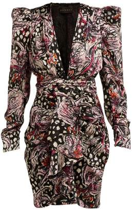 Dundas Lily Print Velvet Devore Mini Dress - Womens - Black Multi