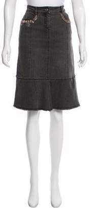 Philosophy di Alberta Ferretti Embellished Denim Skirt