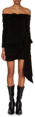 Redemption Off-the-Shoulder Long-Sleeve Jersey Mini Dress w/ Side Tie