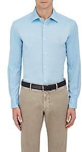Piattelli MEN'S COTTON PIQUÉ DRESS SHIRT-LT. BLUE SIZE XL