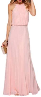 Yacun Women's Halter Sleeveless Floor-Length Pleated Party Bridesmaid Dress S