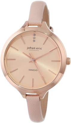 Johan Eric Women's JE2100-09-001.9 Herlev Rose Gold Case and Peach Leather Diamond Accents Slim Watch