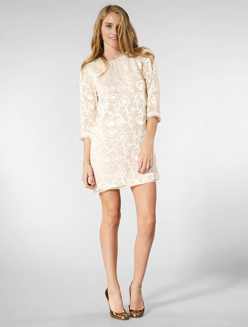 Karen Zambos Vintage Couture Beaded Dress in Ivory Organza