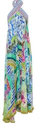 Camilla Bahia Bliss Embellished Printed Silk Midi Halterneck Dress