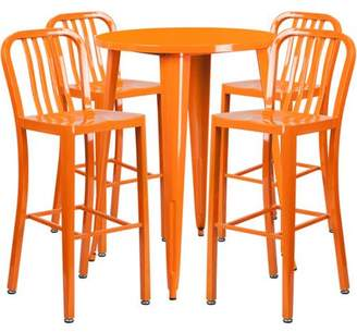 Flash Furniture 30'' Round Metal Indoor-Outdoor Bar Table Set with 4 Vertical Slat Back Barstools, Multiple Colors